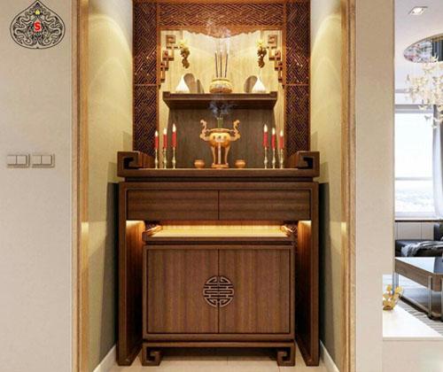Tủ thờ gỗ dổi đẹp mang nhiều ý nghĩa tâm linh trong đời sống