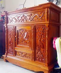 Tủ thờ tứ quý chạm khắc tinh tế phù hợp phong thủy gia chủ