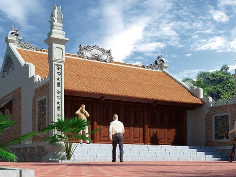 Mẫu nhà thờ họ chữ Nhị đẹp theo lối kiến trúc cổ
